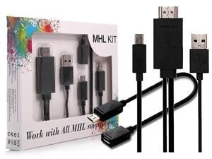 MHL Kit(5Pin+11Pin) Universal MHL Micro USB2.0 to HDMI Cable [6.5Feet/2M, Black] Adapter 1080P HDTV for Samsung S5/4/3, Note 4/3/2, Tab 3 8.0/10.1, HTC LG and Other MHL-Feature Smart Phones