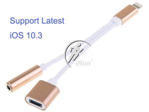 For Apple iPhone 7 / iPhone7 Plus Lighting to 3.5mm 2in1 AUX Headphone Female Jack Adapter w/Lightning 8pin Charging Port (Gold Aluminum)