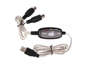 6FT USB to MIDI Converter Cable for Keyboard Interface Black