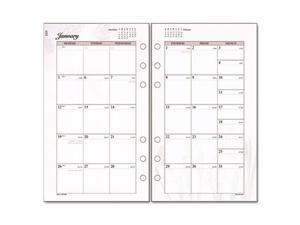"Day Runner Express Nature Planning Page - Monthly - 3.75"" x 6.75"" - 1 Year - January till December 1 Month Double Page Layout - White"
