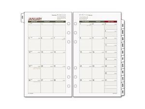 "Day Runner Express Planning Page - Monthly - 3.75"" x 6.75"" - 1 Year - January till December 1 Month Double Page Layout - White"