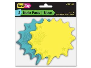 """Redi-Tag Thought Bubble Sticky Notes - Writable, Repositionable, Self-adhesive, Removable - 4"""" x 4"""" - Blue, Yellow - 2Pad"""