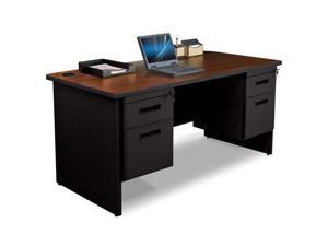Pronto Pronto Double Pedestal Desk, 60W x 30D - Mahogany Laminate and Black Finish