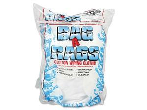 Bag A Rags 1 lb. Bag Cotton Wiping Cloths - Wipe - White, Blue