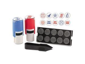 "Stamp-Ever Stamp-Ever Stamp, Self-Inking with 10 Dies, 5/8"", Red/Black"