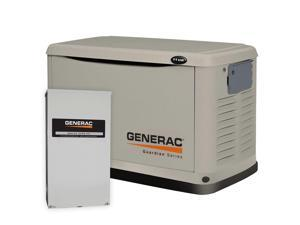 6438 Guardian Series 11/10kW Air-Cooled Standby Generator, Steel Enclosure, 200Amp Service Rated Automatic Switch