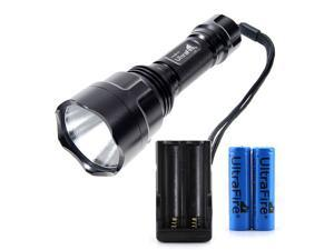 CREE Q5 LED 500 Lumen C8 5 Mode LED Flashlight Torch Light Lamp with 2x 18650 Battery and Charger Silver