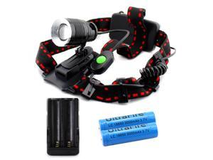 CREE XML T6 LED 1000 Lm Zoom Headlamp Flashlight Head Lamp GU10 with 2x 18650 Battery and Charger