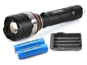 1200Lm Zoomable Dimmer CREE XM-L T6 A6 LED Flashlight Torch 5 Mode with 2pcs 18650 Battery and Charger