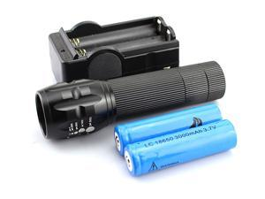 Cree Q5 LED 380 lumen 3 Mode Zoom Zoomable LED Flashlight Torch with 2x 18650 Battery and Charger