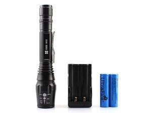 Y2 CREE MCE 4 Core LED 1600 Lumens 5 Mode Zoom LED Power Flashlight Torch Black with 2x 18650 Battery rechargeable and Charger