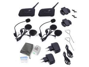 2x Sets 1200M 6 Riders Interphone Bluetooth Motorcycle Helmet Intercom Headset