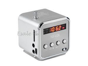 Silver 3.5mm Mini Portable Music Player Speaker FM Radio USB Micro SD TF Card