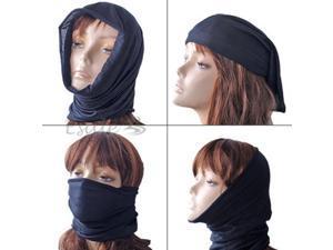 Black Multifunctional Headwear Scarf Mask Tube Sports