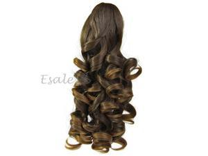 """14"""" Light Brown Synthetic Long Wavy Curly Clip On Hair Ponytail Extensions"""