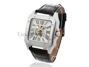 Winner Black Band Skeleton Square Dial Automatic Mechanical Wristwatch Watch