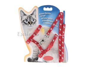 Pet Cat Nylon Lead Leash Harness Collar Rope Safety Belt Adjustable Red