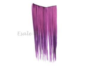 Clip In Long Straight Gradient Purple Hair Extension Synthetic Fiber Hairpiece