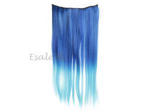 Clip In Long Straight Gradient Blue Hair Extension Synthetic Fiber Hairpiece