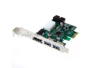 Desktop 3 Port USB 3.0 20 Pin Power ESATA PCI Express Adapter Controller Card