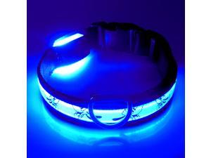 LED Collar Pet Cat Dog Nylon LED Collars Night Safety LED Light-up Flashing Glow in the Dark Pluto Flat Fiber Collar S/ M/ L/ XL Xmas Gift