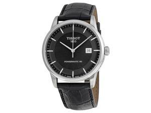 Tissot Luxury Automatic Black Dial Black Leather Mens Watch T0864071605100