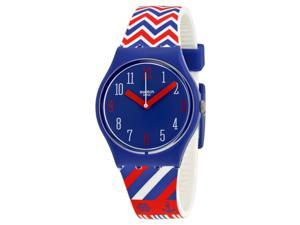Swatch Grande Voile Blue Dial Red, Blue and White Rubber Ladies Watch GN240