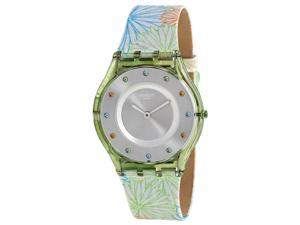Swatch Pique-nique Silver Dial Patterned Silicone Ladies Watch SFG105