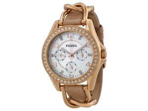 Fossil Riley Multi-Function Sand Dail Bone Leather Ladies Watch ES3466