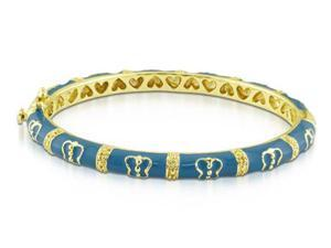 Amour Yellow Gold Flash Plated Silver Turquoise Butterfly Enamel Baby Bangle Bracelet