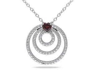 Amour Sterling Silver 1/3ct TGW Garnet Heart Pendant (18in)