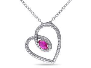 Amour Sterling Silver 3/8ct TGW Created Ruby Pendant (18in)
