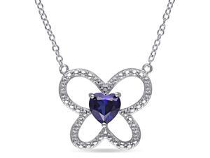 Amour Sterling Silver 1ct TGW Created Blue Sapphire Heart Pendant (18in)