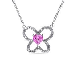 Amour Sterling Silver 1ct TGW Created Pink Sapphire Heart Pendant (18in)