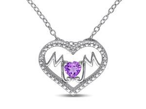 Amour Sterling Silver 1/3ct TGW Amethyst Heart Pendant (18in)