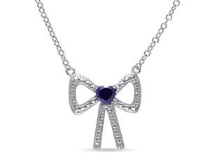 Amour Sterling Silver 1/3ct TGW Created Sapphire Heart Pendant (18in)
