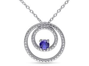 Amour Sterling Silver 1/3ct TGW Created Blue Sapphire Pendant (18in)