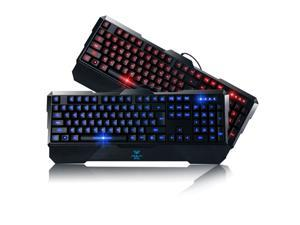 AULA LED Illuminated Blue Red Backlight Backlit Multimedia USB Wired Gaming Keyboard for Computer