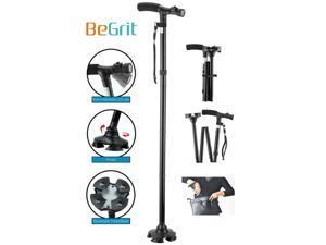 Folding Cane, BeGrit Dependable Ajustable Height Lightweight Folding Walking Stick Cane with Built-in LED Lights Non Slip Unisex
