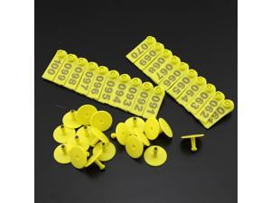Pack of 100 Plastic Pig piglets Sows Ear Tag With Numbers 001-100 Orange