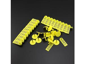 Pack of 100 Plastic Pig piglets Sows Ear Tag With Numbers 001-100 Yellow