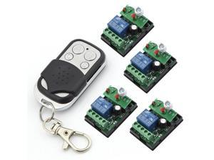 RF 6V One Transmitter with 4X 1 Channel Relays Smart Wireless Remote Control Switch Black&White Color Transmitter with 4 Keys