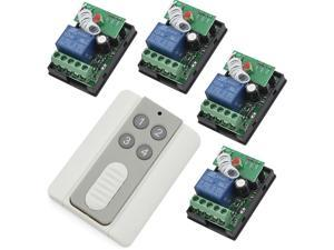 RF 12V One Transmitter with 4X 1 Channel Relays Smart Wireless Remote Control Switch White & Grey Transmitter