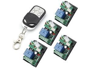 RF 24V One Transmitter with 4X 1 Channel Relays Smart Wireless Remote Control Switch Black&White Color Transmitter with 4 Keys