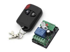 RF DC 12V 1 Channel One Relay Wireless Learning Remote Control Switch Black Color 2 Keys Type Transmitter