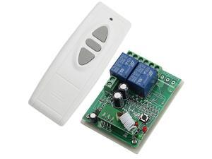 DC 12V 2 Channels Smart Wireless Remote Control Switch Inching Self-locking White Transmitter with 3 Keys