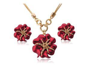 Yoursfs 18K Gold Plated Painting Rose Flower Necklace and Earring Set Use Swarovski Crystal Fashion Jewelry Set