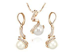 Ship From USA Yours Pearl Necklace&Earring Jewelry Sets 18K Rose gold plated use Swarovski Crystal Set