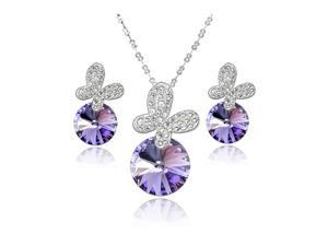 Yoursfs 18K Gold Plated Crystal Butterfly Necklace and Earring Set Use Purple Swarovski Crystal Fashion Jewelry Set