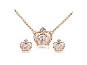 Yoursfs 18K Rose Gold Plated Fashion Crown Necklace and Earring Use Swarovski Crystal Bridal Jewelry Set